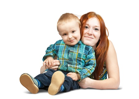 Happy mother with her son. Isolated over white photo