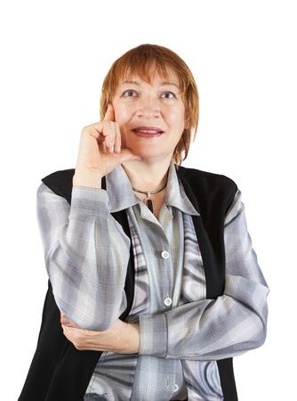 senior businesswoman  portrait over a white background photo