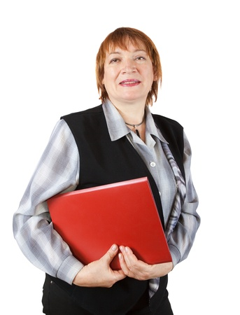 senior businesswoman with documents on white background  photo