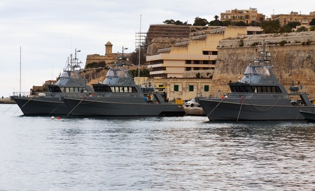 Military boats lying at Marsamxett harbour (Valletta, Malta) Stock Photo - 8594671