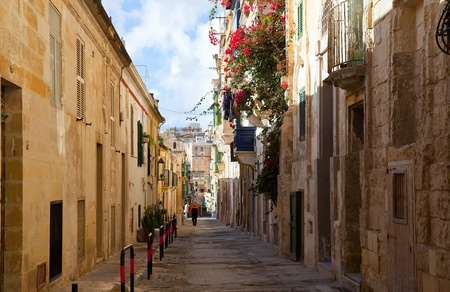 Malta: Old street  and picturesque houses of Valletta. Malta