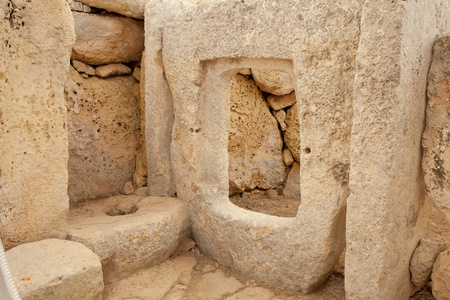 neolithic: Detail of Hagar Qim neolithic temples. Malta (Maltese islands). Built in 3600-3200 B.C. Stock Photo