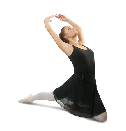 Young female dancer  performing a dance on white background  photo