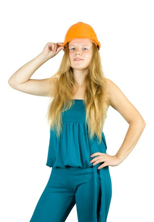 tasker: female construction worker in hard hat. Isolated against white background.