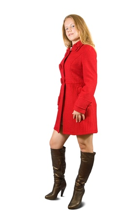 tog: Girl in red coat on white background