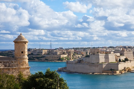View of Valletta with knights forts, Malta