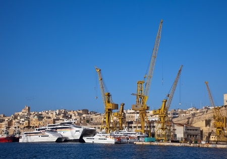 drydock: Ships in drydock at Grand harbour (Valletta, Malta)