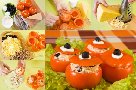 farci: series stages of cooking of stuffed tomato salad