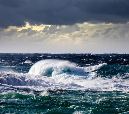 storm background: High sea wave during storm at  Mediterranean area Stock Photo