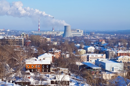 tec: View of Vladimir with thermal power plant in winter