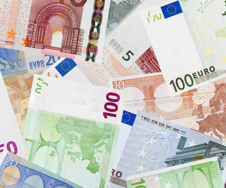 Background of many euro banknotes photo
