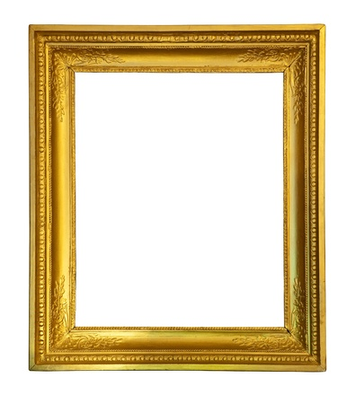 gilded: old antique gold frame.  Stock Photo