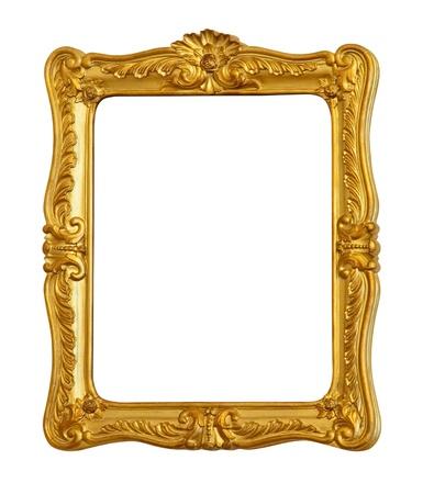 Baroque picture frame: ancien cadre dor� antique. Isol� sur fond blanc