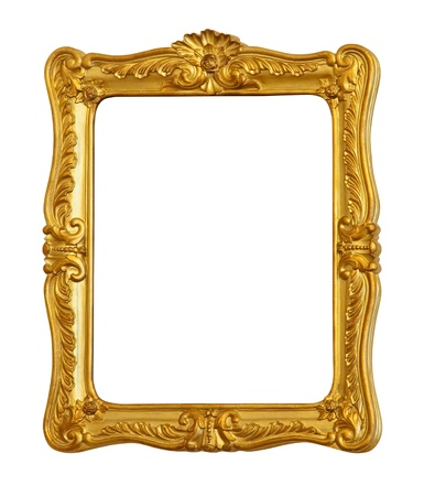 old picture: old antique gold frame. Isolated over white background  Stock Photo