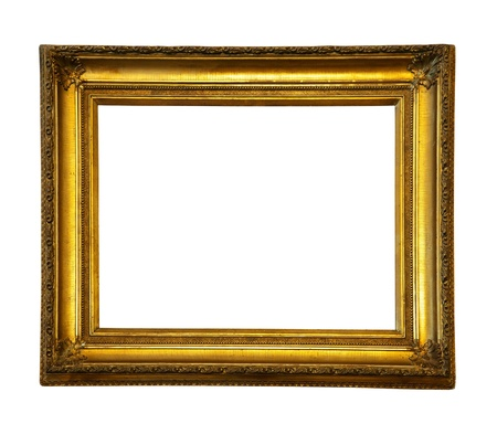 old picture: old antique gold frame.  Stock Photo