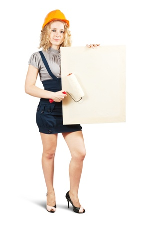house painters  holds blank canvas. It is isolated on a white background  photo
