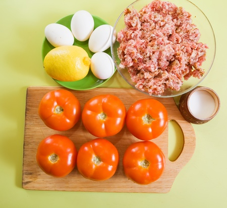 farci: ingredient for stuffed tomato on cook-table.See in series stages of cooking of farci tomato