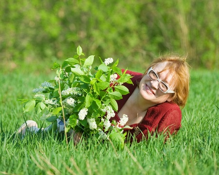 portrait of senior woman in the spring  meadow Stock Photo - 8771587