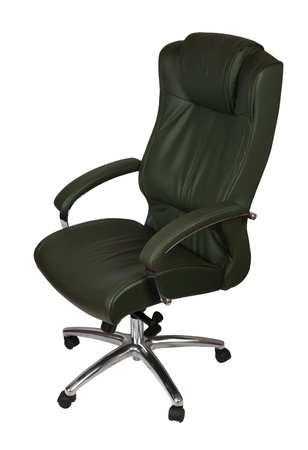 Executive green leather office chair,  isolated on white photo
