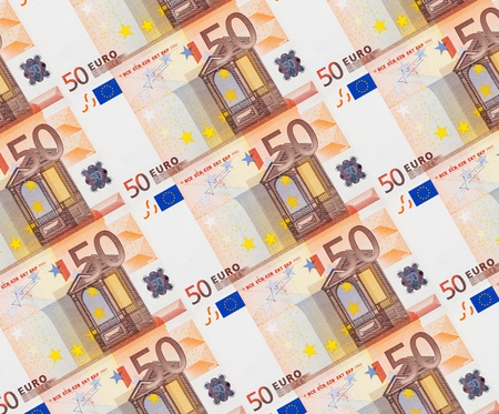 Background of fifty euro banknotes photo