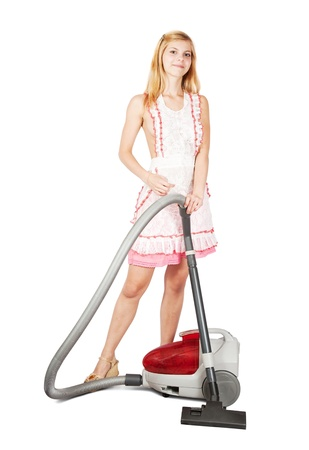 sexy maid: Sexy girl with vacuum cleaner over white