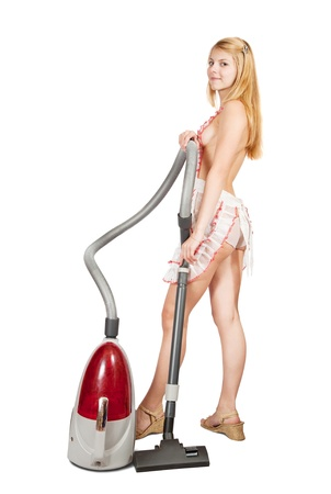 Sexy girl with vacuum cleaner over white photo