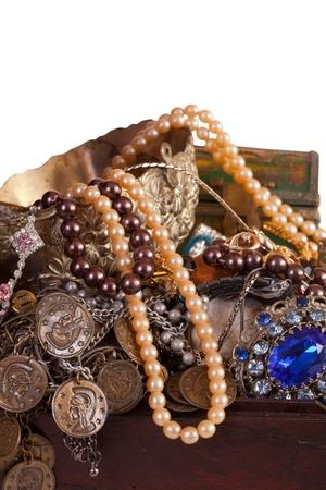 Closeup of full treasure chest with jewellery Stock Photo - 8886994
