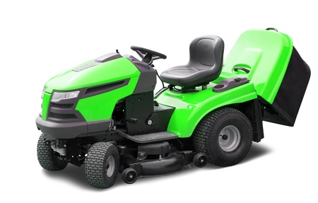Green lawn mower. Isolated over white background photo