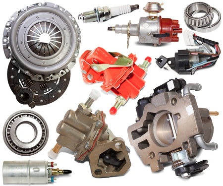 Set of automotive spare parts. Isolated on white background Stock Photo - 8888640