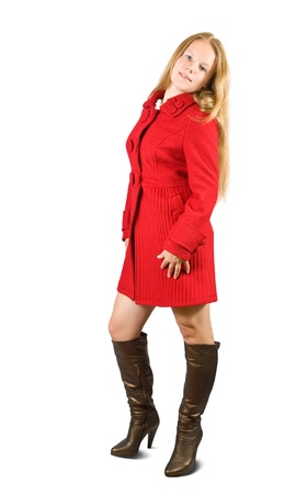 seasonable: Woman in red coat and brown high shoes