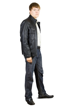 full face: casual man standing isolated over a white background