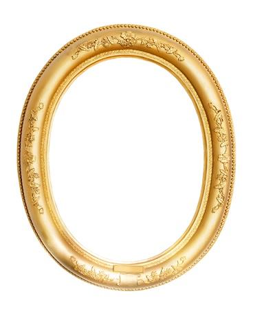 gild: ovale cornice oro Archivio Fotografico