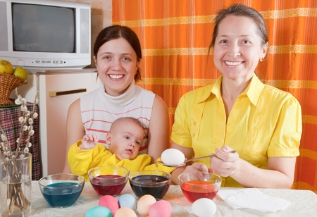 Family  painting eggs for Easter holiday in kitchen Stock Photo - 8997355