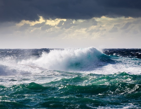 rough sea: High sea wave during storm at  Mediterranean area Stock Photo