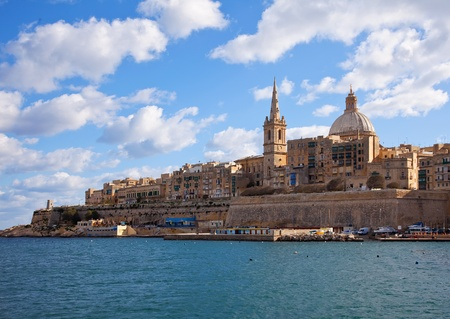 Malta: View of Valletta with Our Lady of Mount Carmel church dome, Malta Stock Photo