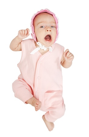 Little baby girl in pink  over white background Stock Photo - 9058867