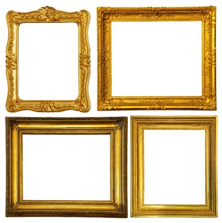 ornate gold frame: Conjunto de pocos marco de oro. Aislados sobre fondo blanco con trazado de recorte
