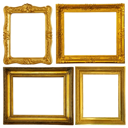 Set of few gold frame. Isolated over white background with clipping path Stock Photo - 9059975