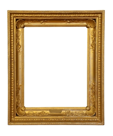 old antique gold frame. Isolated over white background  Stock Photo - 9060706