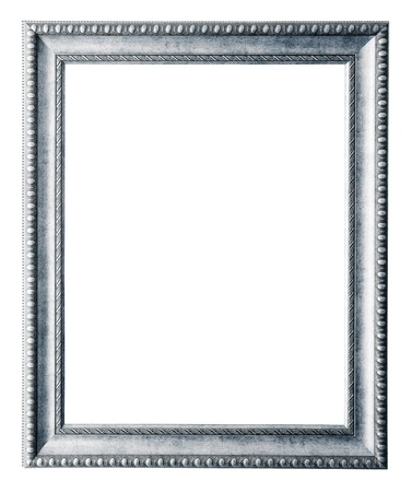 rectangle frame:  silver frame. Isolated over white background