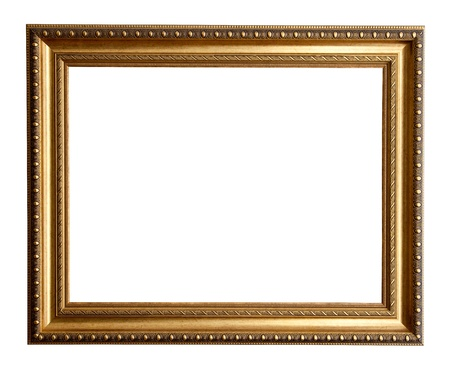 Luxury gilded frame. Isolated over white background  photo