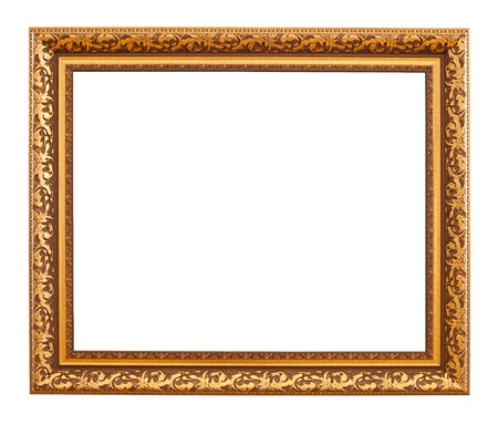 Luxury gold frame. Isolated over white background  photo