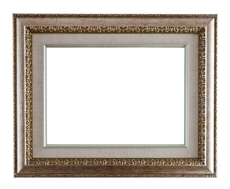 Luxury silver  frame. Isolated over white background  photo
