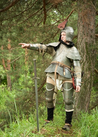 commanding: Knight in armour commanding in pine forest