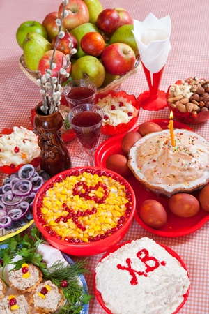 celebrate table with Easter cake  and holiday meal Stock Photo - 9061503
