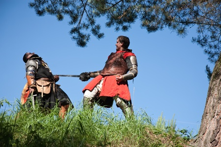 duelling: Two knights . The end of knights battle