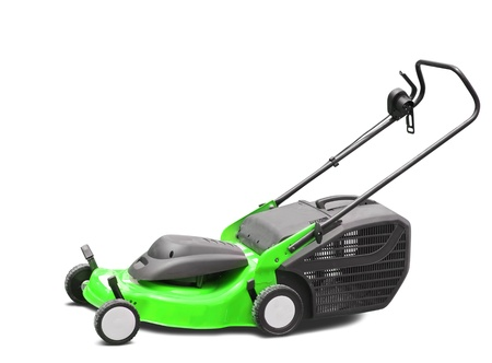 Green lawn mower. Isolated over white background Stock Photo - 9168107