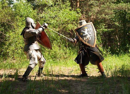 Two knights in armor fights in forest photo