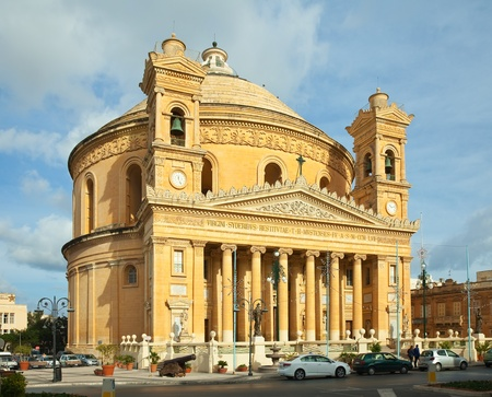 Malta: St. Mary church (Mosta Dome) at Mosta. Third dome of Europe by size. Malta