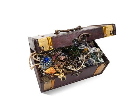 Wooden treasure chest with jewellery photo